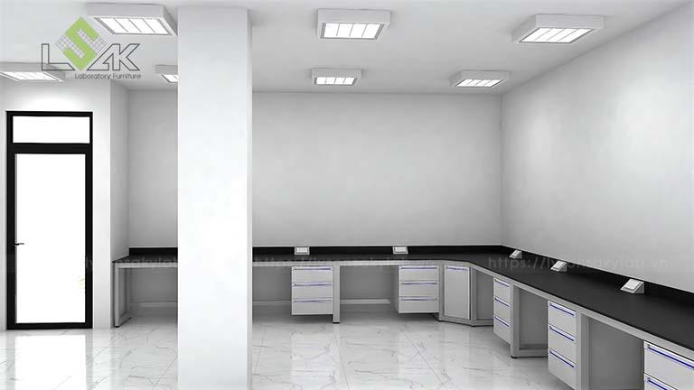 Thiết kế bàn thí nghiệm áp tường phòng thí nghiệm MAXIHUB