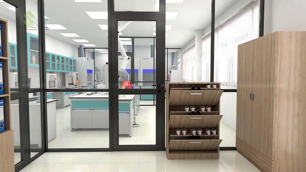 Tủ để giày thiết kế phòng thử nghiệm chất lượng thức ăn chăn nuôi gia súc, gia cầm