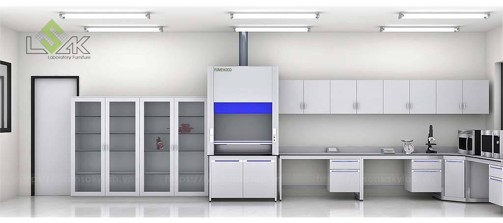 Tủ hút khí độc thiết kế phòng thí nghiệm thực hành hóa sinh
