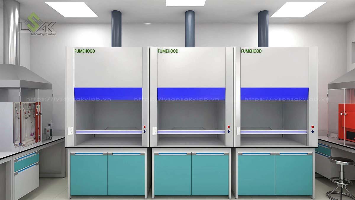 Tủ hút khí độc thiết kế phòng thử nghiệm chất lượng thức ăn chăn nuôi gia súc, gia cầm