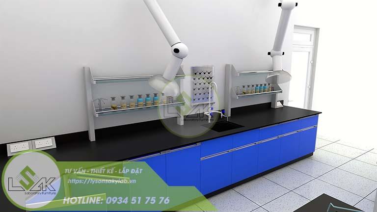 Bàn thí nghiệm áp tường có kệ công ty sản xuất sợi dệt chất lượng cao Xindadong Textiles