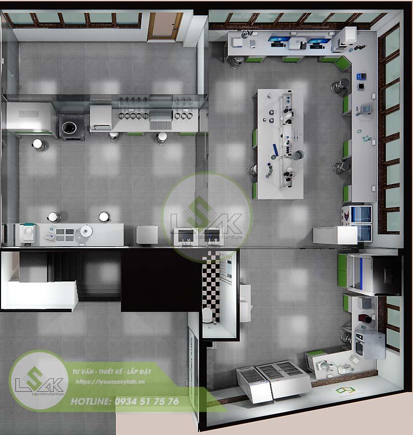 Phối cảnh 3d thiết kế nội thất phòng lab nghiên cứu và Phát triển công nghệ sinh học