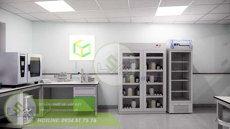 Tủ đựng hóa chất nội thất phòng lab nghiên cứu và Phát triển công nghệ sinh học