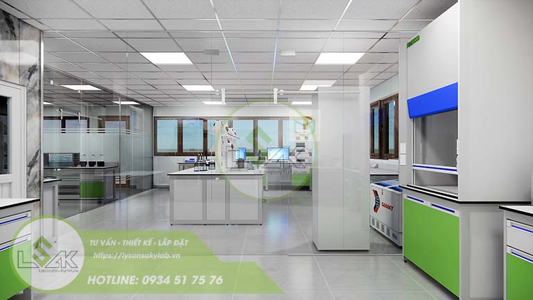 Thiết kế bàn thí nghiệm trung tâm nội thất phòng lab nghiên cứu và Phát triển công nghệ sinh học