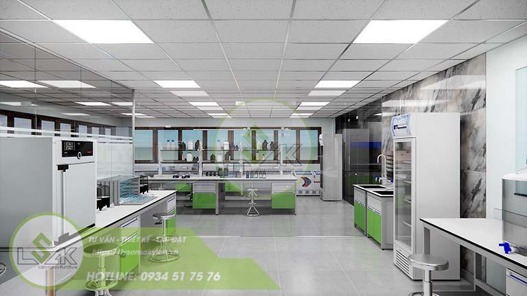 Thiết kế bàn thí nghiệm nội thất phòng lab nghiên cứu và Phát triển công nghệ sinh học