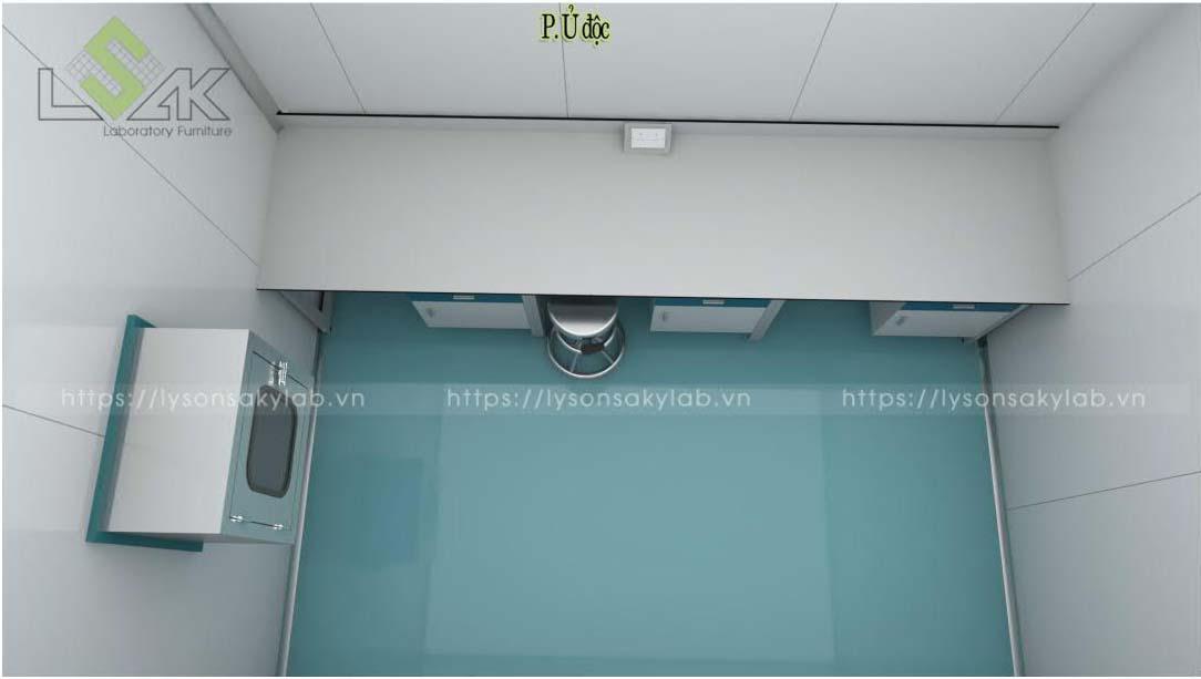 Phòng ủ độc thiết kế nội thất phòng lab nhà máy sản xuất thuốc thú y - thủy sản UV Việt Nam