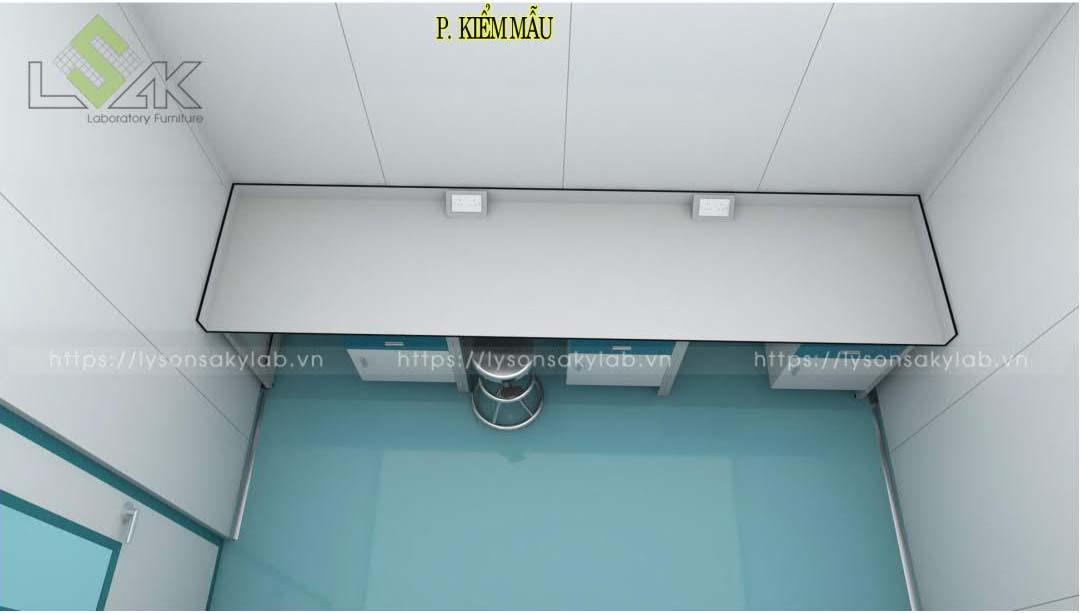 Bàn kiểm mẫu thiết kế nội thất phòng lab nhà máy sản xuất thuốc thú y - thủy sản UV Việt Nam