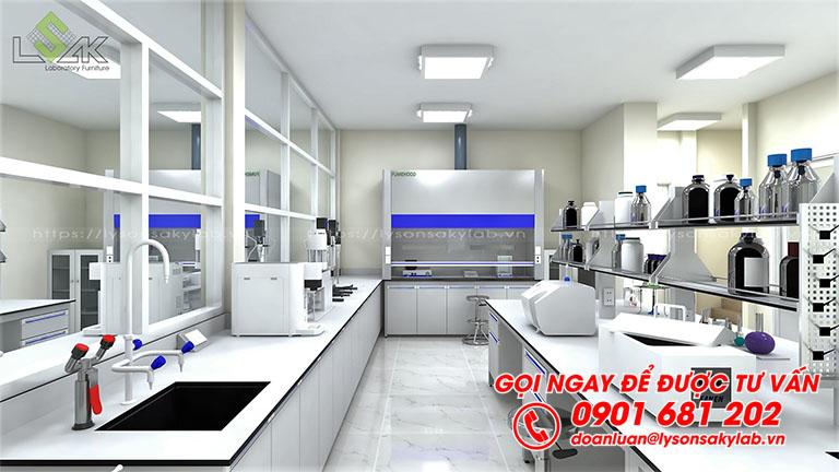 Bàn thí nghiệm trung tâm thiết kế phòng thí nghiệm thuốc sát trùng VN