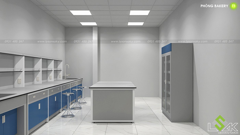 Tủ đựng hóa chất, bàn thí nghiệm áp tường có kệ để dụng cụ