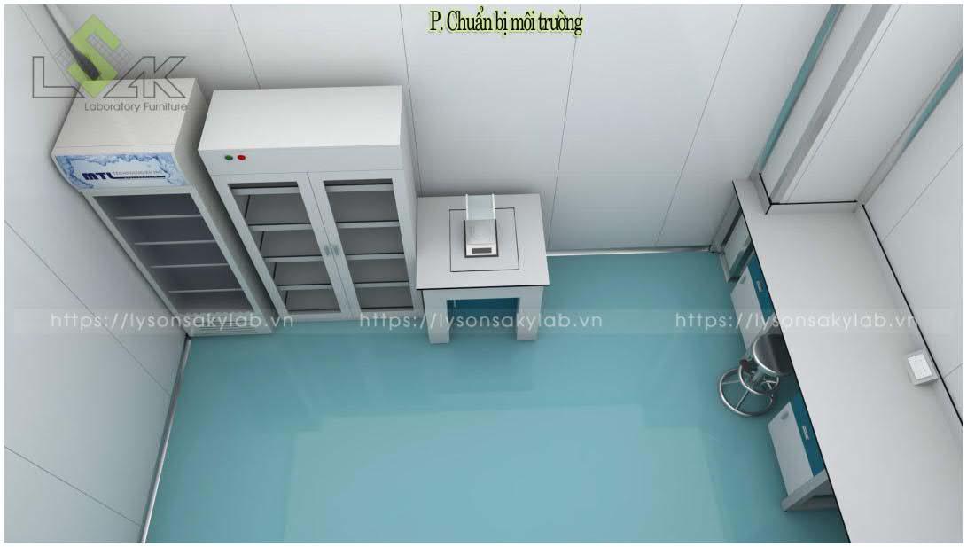 Tủ đựng hóa chất, bàn cân mẫu phòng chuẩn bị môi trường