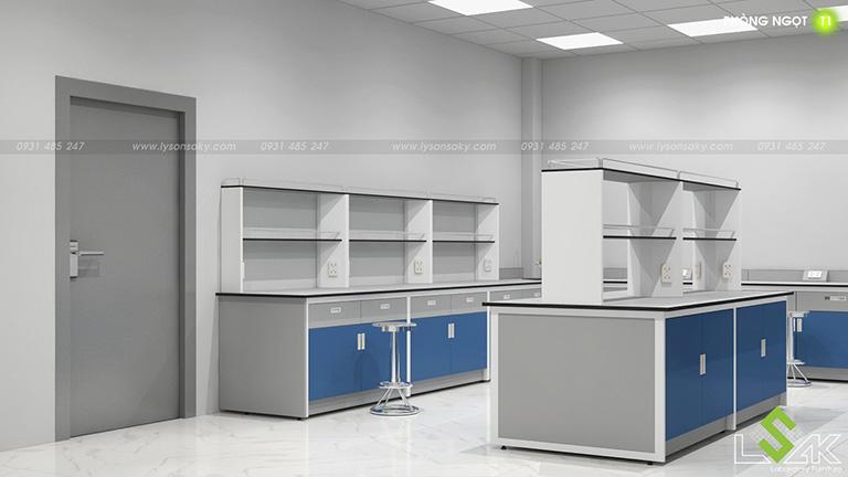 Bàn thí nghiệm trung tâm, áp tường có kệ thiết kế phòng lab trung tâm nghiên cứu và phát triển thực phẩm