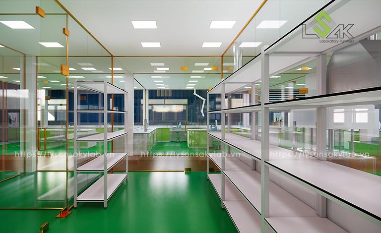 Kệ lưu mẫu hóa chất thiết kế phòng thí nghiệm thuốc cho gia súc, gia cầm