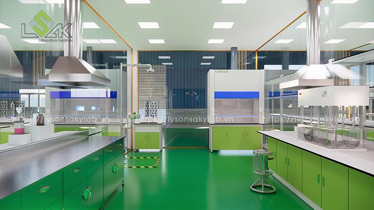 Tủ hút hóa chất thiết kế phòng thí nghiệm thuốc cho gia súc, gia cầm