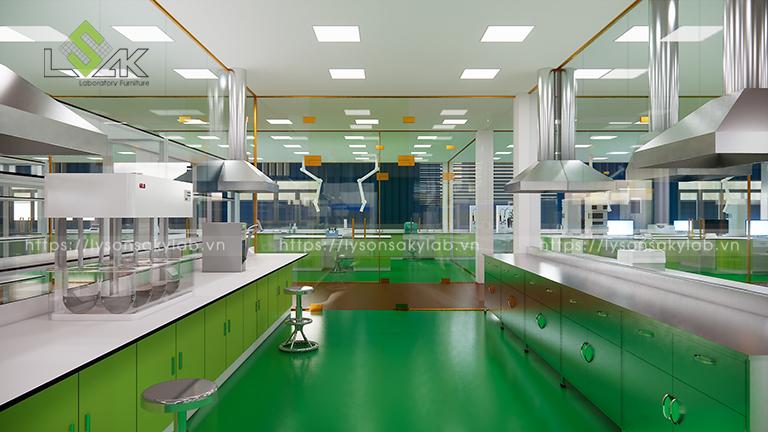 Chụp hút hóa chất inox thiết kế phòng thí nghiệm thuốc cho gia súc, gia cầm
