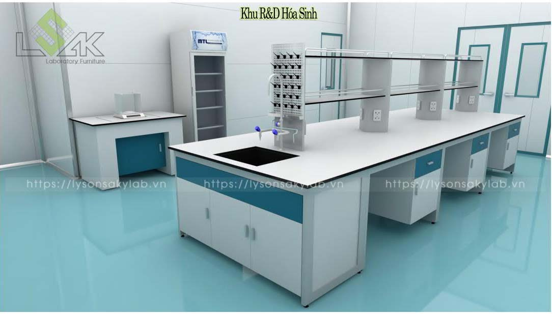Bàn thí nghiệm trung tâm phòng R&D hóa sinh thiết kế nội thất phòng lab nhà máy sản xuất thuốc thú y - thủy sản UV Việt Nam