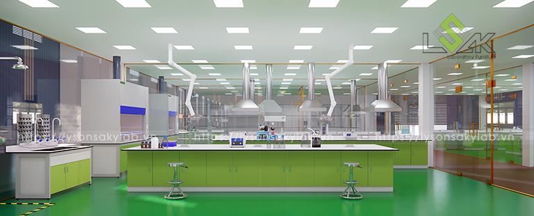 Bàn thí nghiệm khu chuẩn bị mẫu hóa lý thiết kế phòng thí nghiệm thuốc cho gia súc, gia cầm
