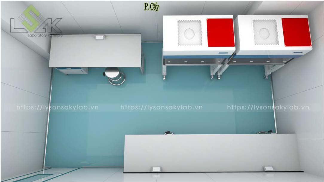 Tủ cấy vi sinh thiết kế nội thất phòng lab nhà máy sản xuất thuốc thú y - thủy sản UV Việt Nam