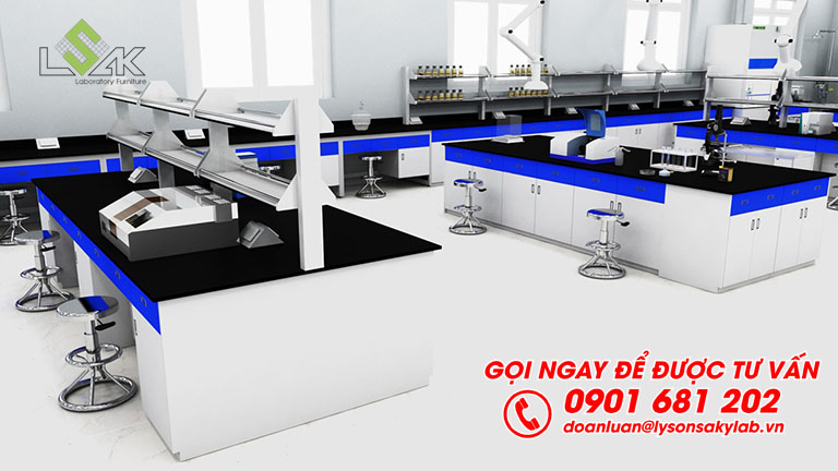 Bàn thí nghiệm trung tâm thiết kế nội thất phòng thí nghiệm nhà máy sản xuất mực in GREAT WORLD INK