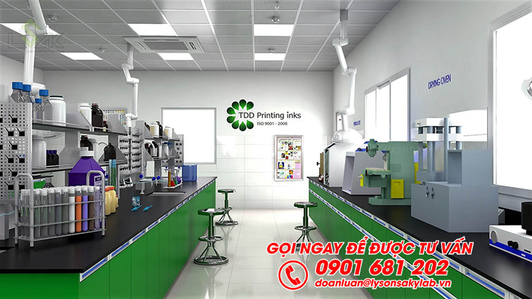 Bàn thí nghiệm trung tâm phòng lab mực in trong công nghiệp bao bì