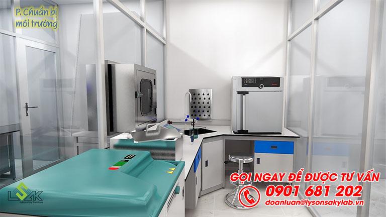 Bàn thí nghiệm có bồn rửa phòng chuẩn bị môi trường