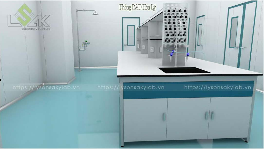 Bàn thí nghiệm trung tâm có giá kệ chậu rửa, phòng R&D hóa lý nội thất phòng lab nhà máy sản xuất thuốc thú y - thủy sản UV Việt Nam