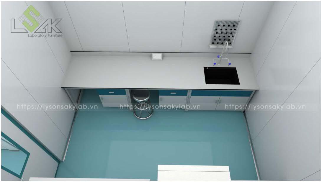 Bàn thí nghiệm áp tường nội thất phòng lab nhà máy sản xuất thuốc thú y - thủy sản UV Việt Nam