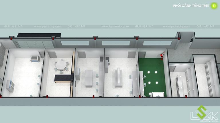 Phối cảnh 3D tầng trệt thiết kế phòng lab trung tâm nghiên cứu và phát triển thực phẩm