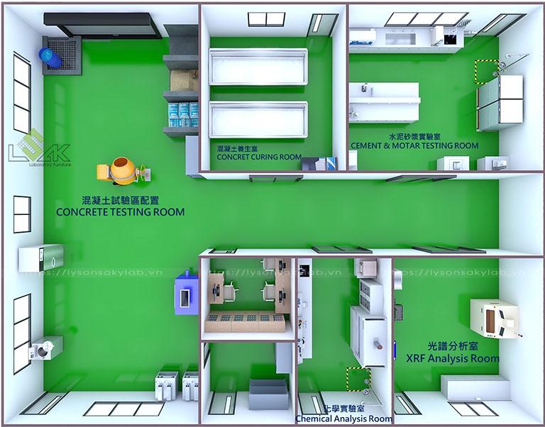 3D thiết kế phòng thí nghiệm nhà máy sản xuất chất phụ gia xi măng