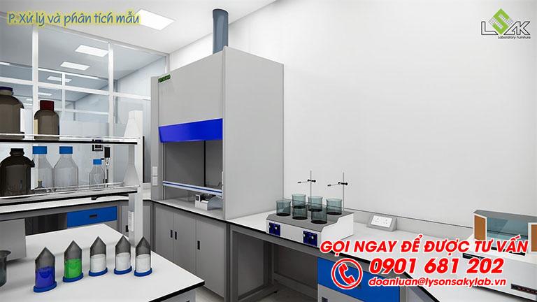 Tủ hút khí độc phòng phân tích và xử lý mẫu thiết kế phòng thí nghiêm môi trường