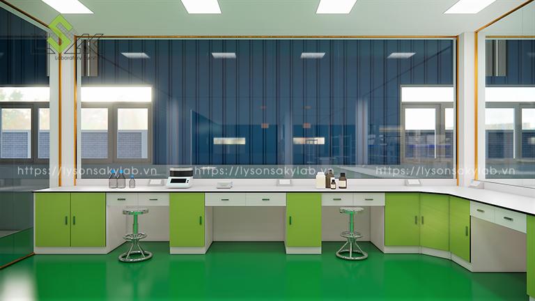 Bàn thí nghiệm phòng QA thiết kế phòng thí nghiệm thuốc cho gia súc, gia cầm