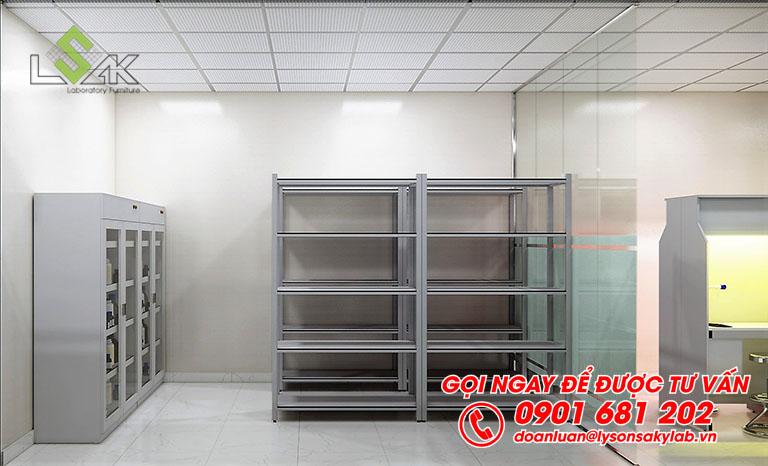 Kệ lưu mẫu và tủ đựng hóa chất sử dụng trong kho lưu mẫu phòng thí nghiệm