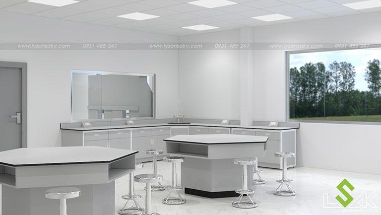 Bàn thí nghiệm áp tường, bàn lục giác thiết kế phòng lab trung tâm nghiên cứu và phát triển thực phẩm