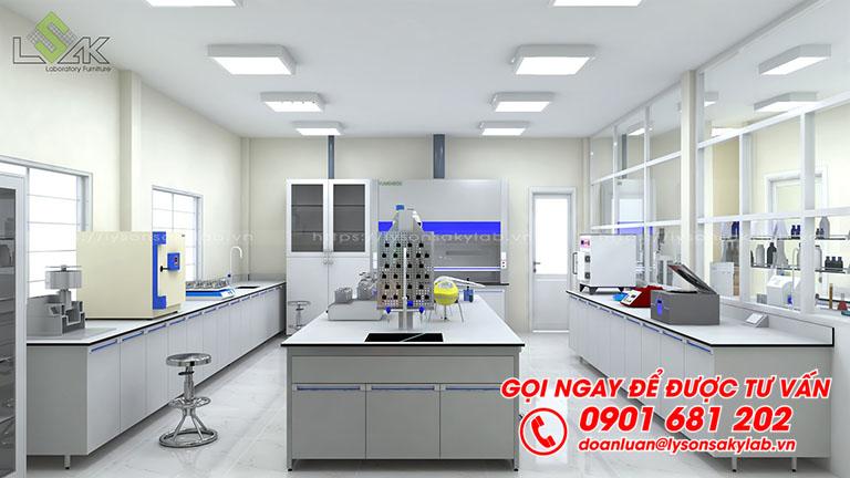 Bàn thí nghiệm trung tâm có bồn rửa, kệ hóa chất 2 tầng