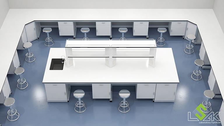 Dãy bàn thí nghiệm áp tường, bàn trung tâm thiết kế phòng lab trung tâm nghiên cứu và phát triển thực phẩm
