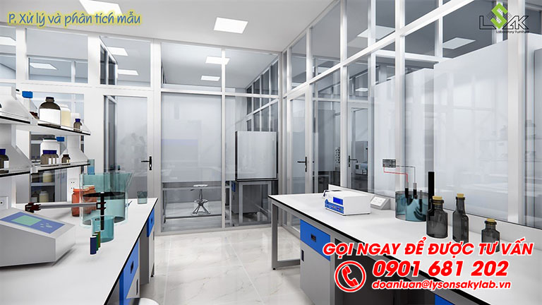 Bàn thí nghiệm trung tâm, bàn thí nghiệm áp tường phòng phân tích và xử lý mẫu thiết kế phòng thí nghiêm môi trường