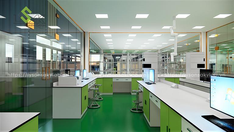 Bàn thí nghiệm áp tường đặt máy UV- VIS.