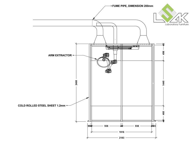 Bản vẽ 2D chụp hút bụi cho phòng cân nguyên liệu- Dust Booth for powder pre-batching