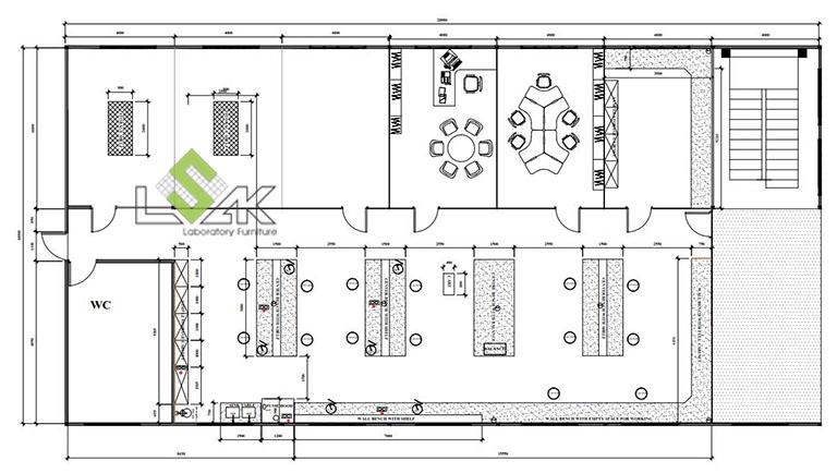 Mặt bằng 2D thiết kế nội thất phòng thí nghiệm nhà máy sản xuất mực in GREAT WORLD INK
