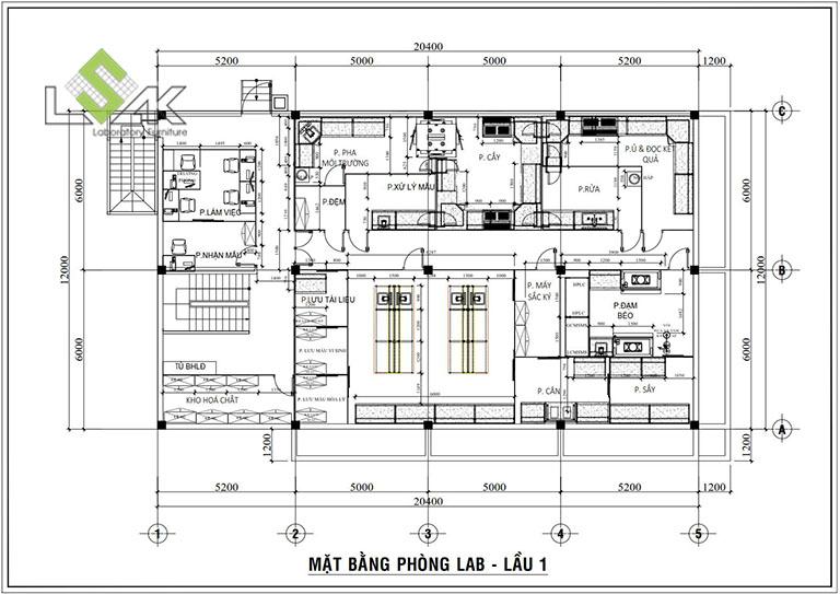 Mặt bằng bố trí nội thất thiết kế phòng lab nghiên cứu hương liệu và nguyên liệu thực phẩm