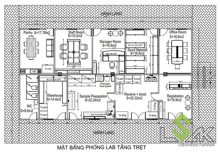 Mặt bằng bố trí nội thất tầng 1 thiết kế trung tâm xét nghiệm cho động vật, gia súc, thú nuôi