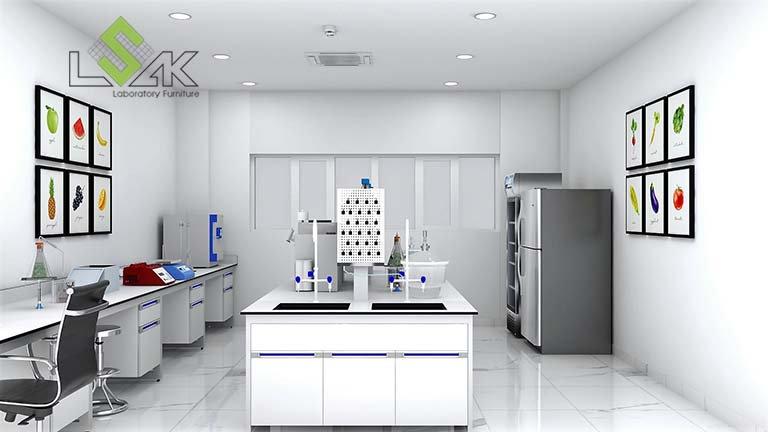 Bàn thí nghiệm trung tâm thiết kế phòng lab nhà máy sản xuất gia vị thực phẩm