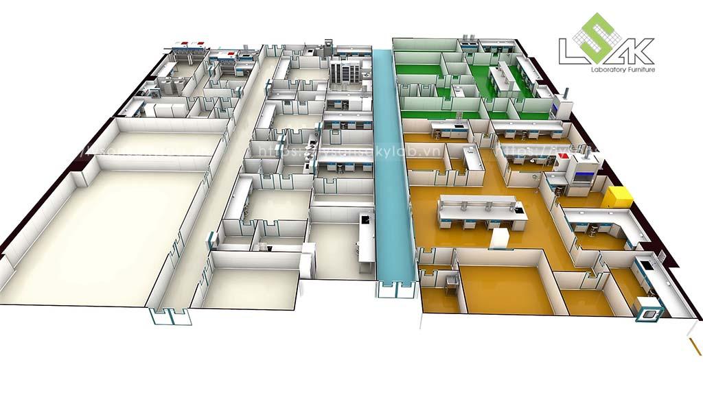 Thiết kế nội thất phòng lab nhà máy sản xuất thuốc thú y - thủy sản UV Việt Nam