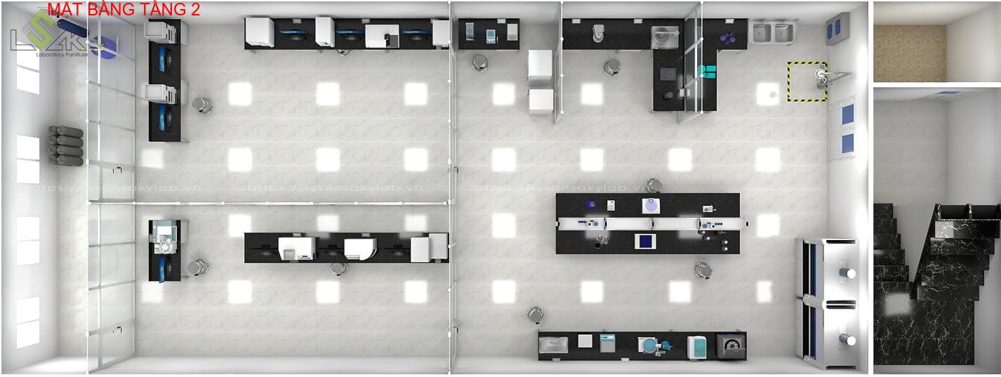 Bố trí mặt bằng nội thất phòng lab tầng 2