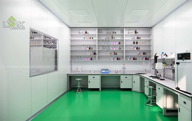 Bàn thí nghiệm và kệ trưng bày mẫu thiết kế phòng lab mỹ phẩm - Cosmetic Laboratory Design
