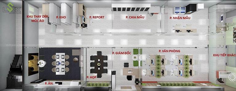 Phối cảnh 3D tầng trệt thiết kế phòng lab nghiên cứu hương liệu và nguyên liệu thực phẩm