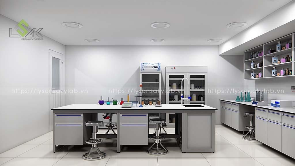 Thiết kế bàn thí nghiệm trung tâm sử dụng trong phòng thí nghiệm chiết xuất tinh dầu trầm hương