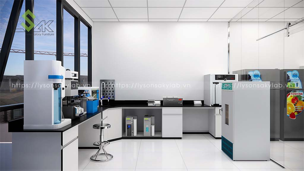 Bàn thí nghiệm áp tường phòng xử lý mẫu