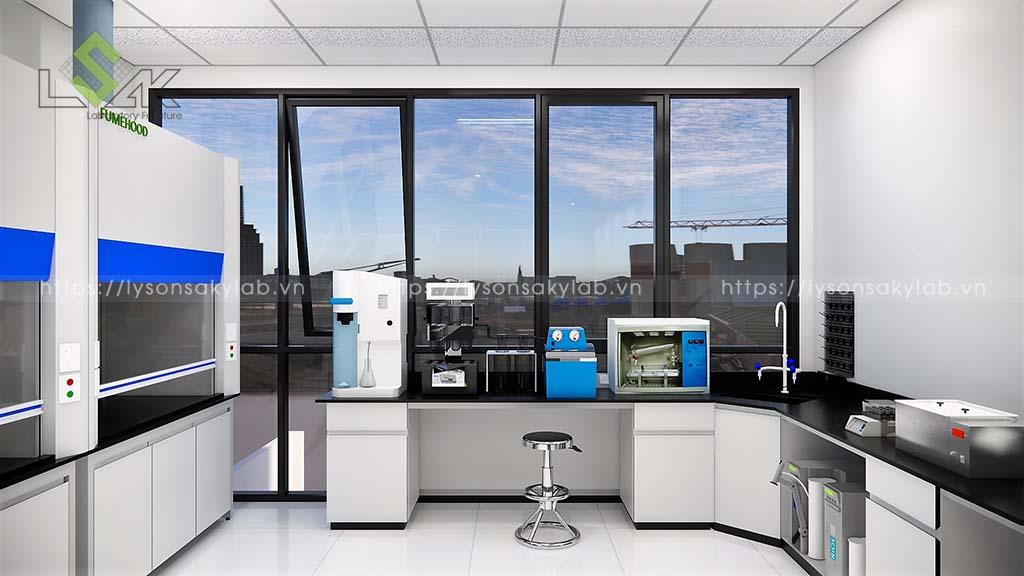 Bàn thí nghiệm áp tường có bồn rửa phòng xử lý mẫu