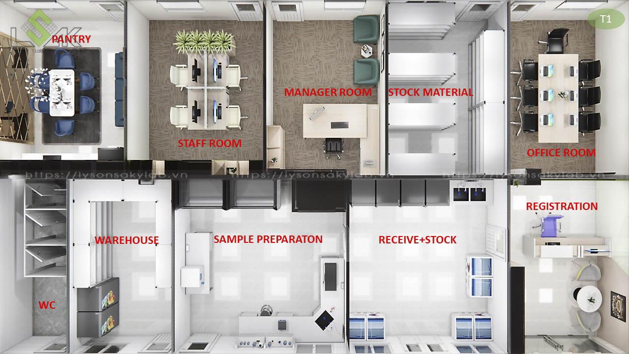 Phối cảnh 3D bố trí nội thất tầng 1 thiết kế trung tâm xét nghiệm cho động vật, gia súc, thú nuôi