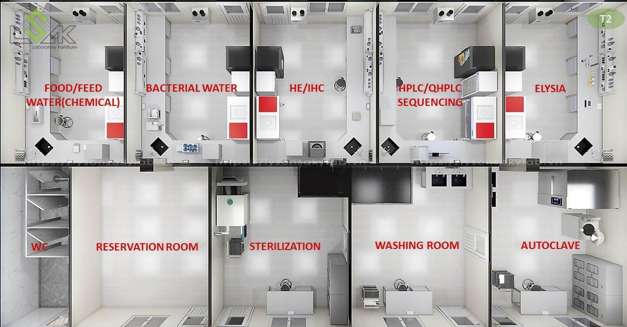 Phối cảnh 3D bố trí nội thất tầng 2 thiết kế trung tâm xét nghiệm cho động vật, gia súc, thú nuôi
